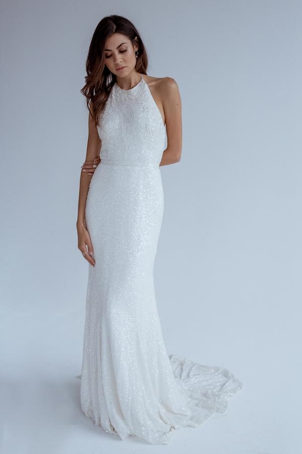 Beaded Halter Neck Wedding Gown by Karen Willis Holmes