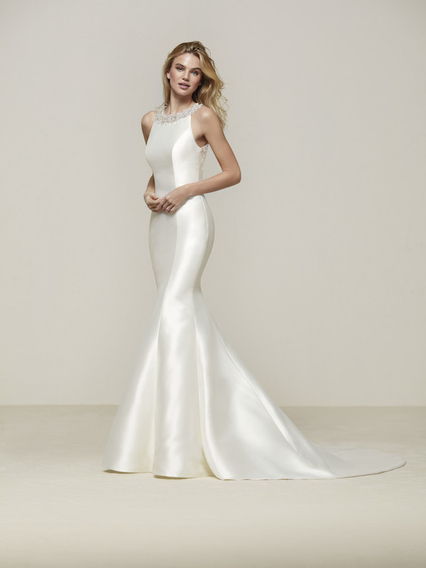 Beaded Neck Wedding Dress by Pronovias