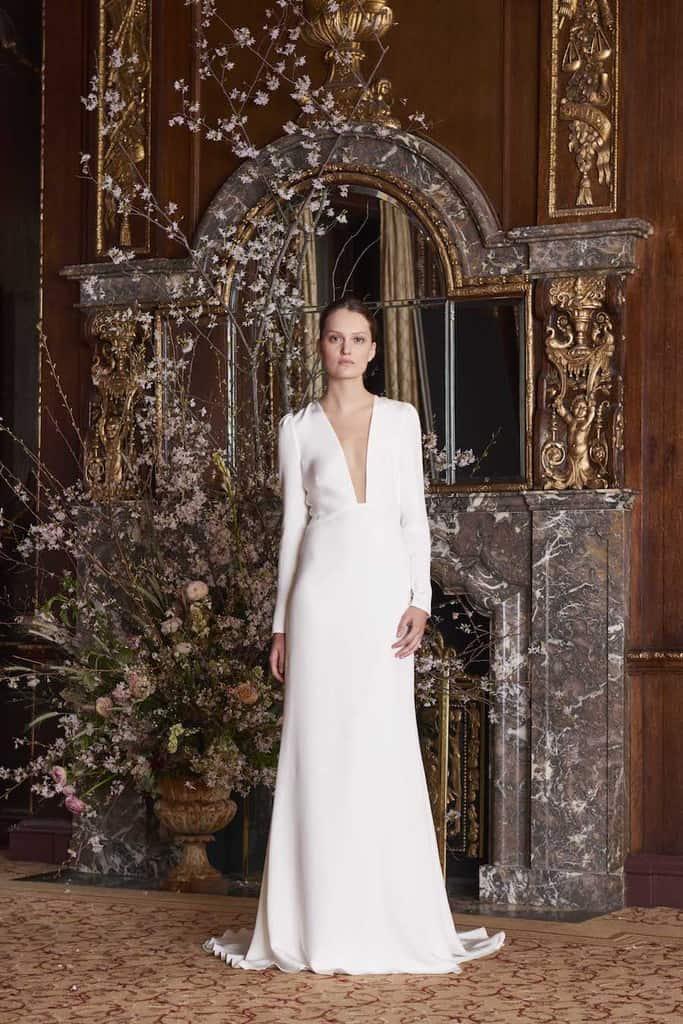 Modern Minimalist wedding dress with plunge neckline