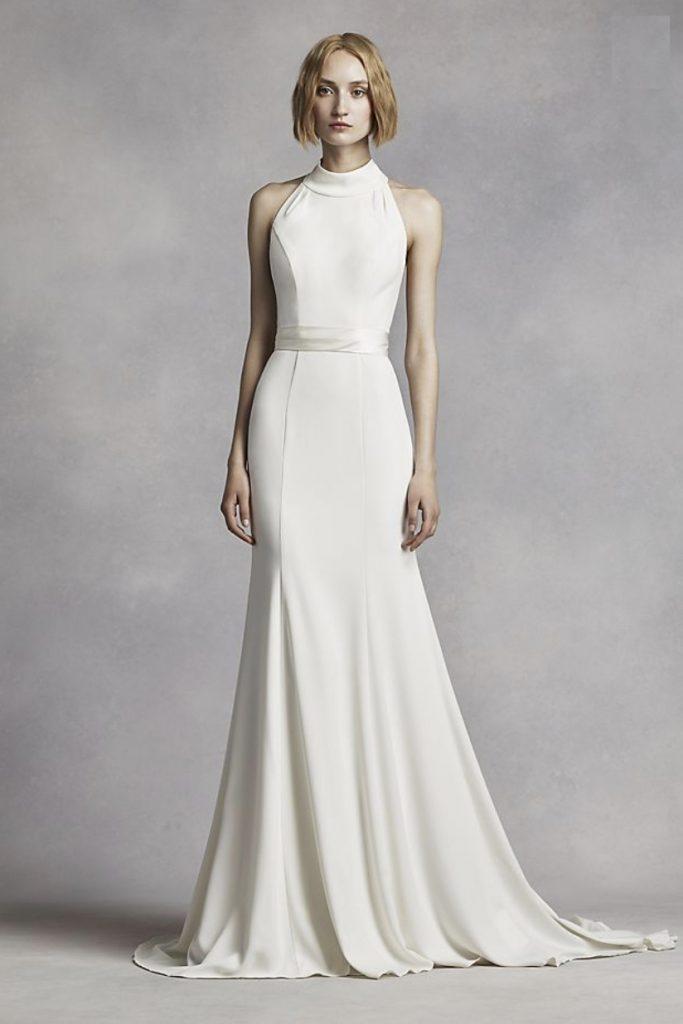 Affordable Meghan Markle Dress- David's Bridal Halterneck Wedding Dress