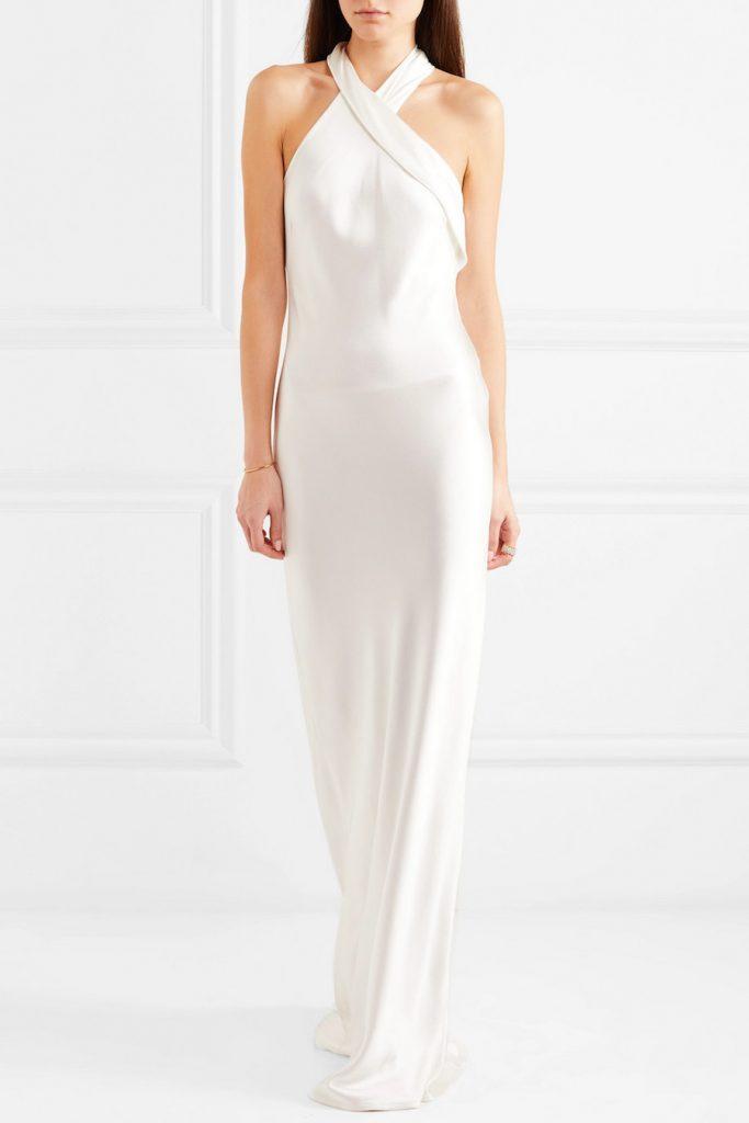 satin halter neck wedding gown