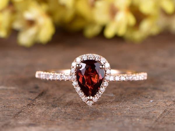 Oval Garnet Engagement Ring