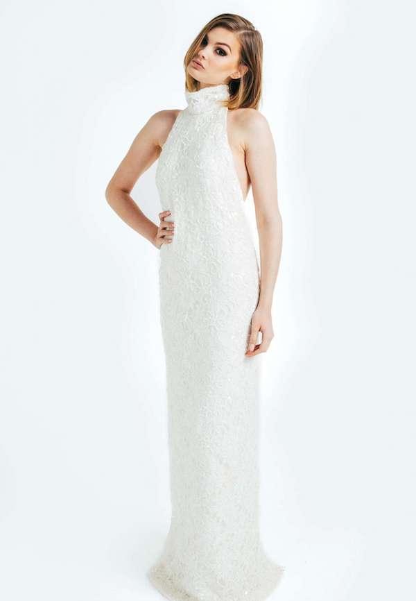 Beaded Halter Neck Dress by Olia Zavozina