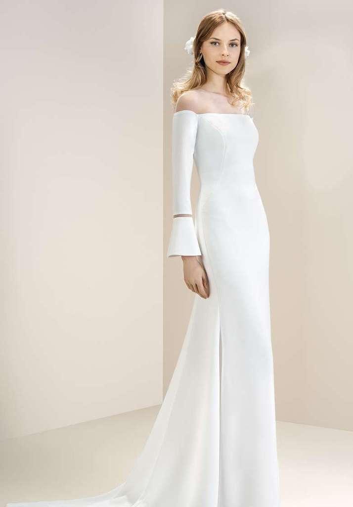 off shoulder minimalist wedding dress