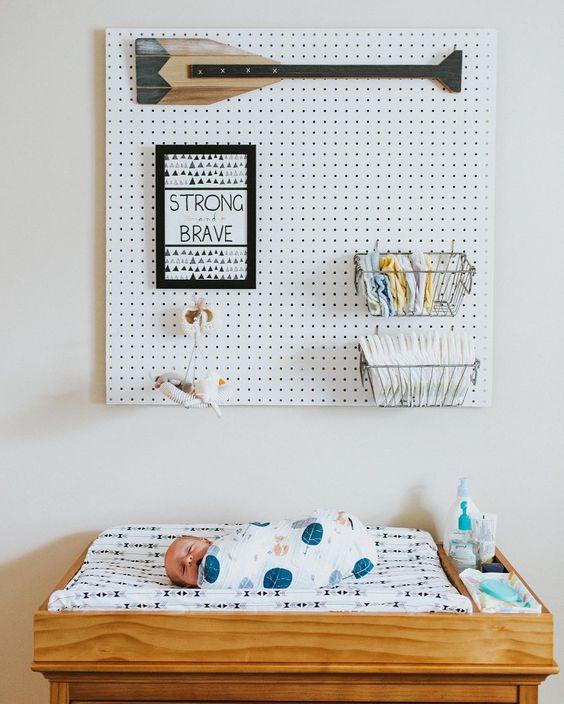 pegboard nursery organizer