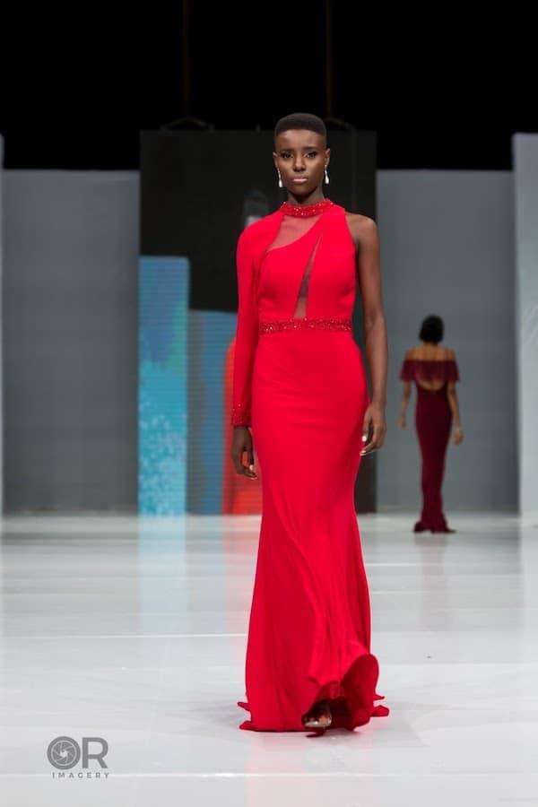 red asymmetric bridesmaid dress