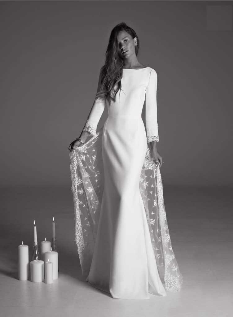 Rime Arodaky Long sleeved modern wedding gown