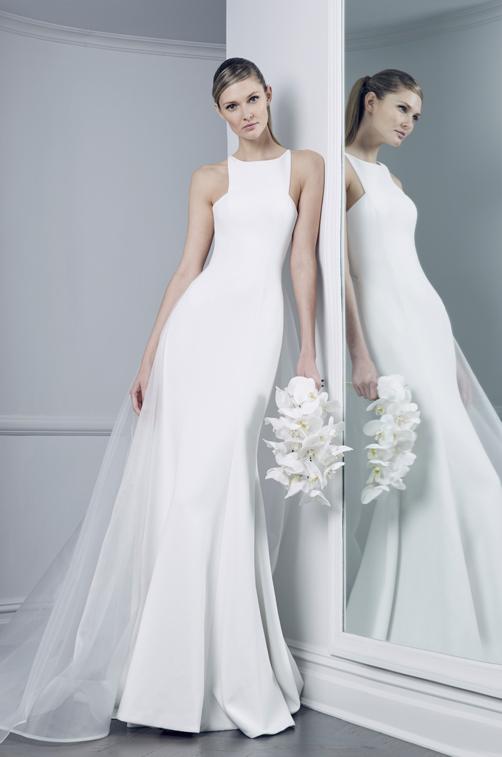 Modern Halter neck wedding dress by Romona keveza