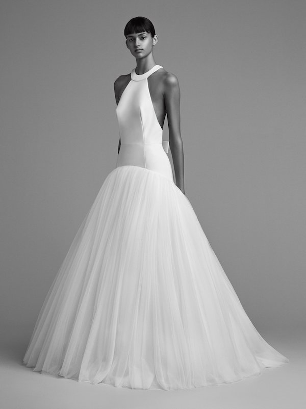 Halter Neck Fit and Flare Wedding Gown