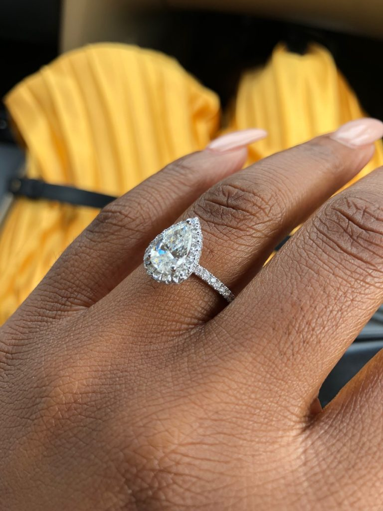 pear shaped engagement ring - insurance