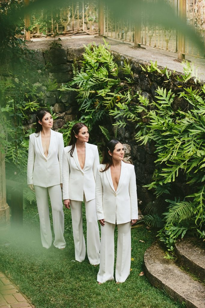 bridesmaids in suits