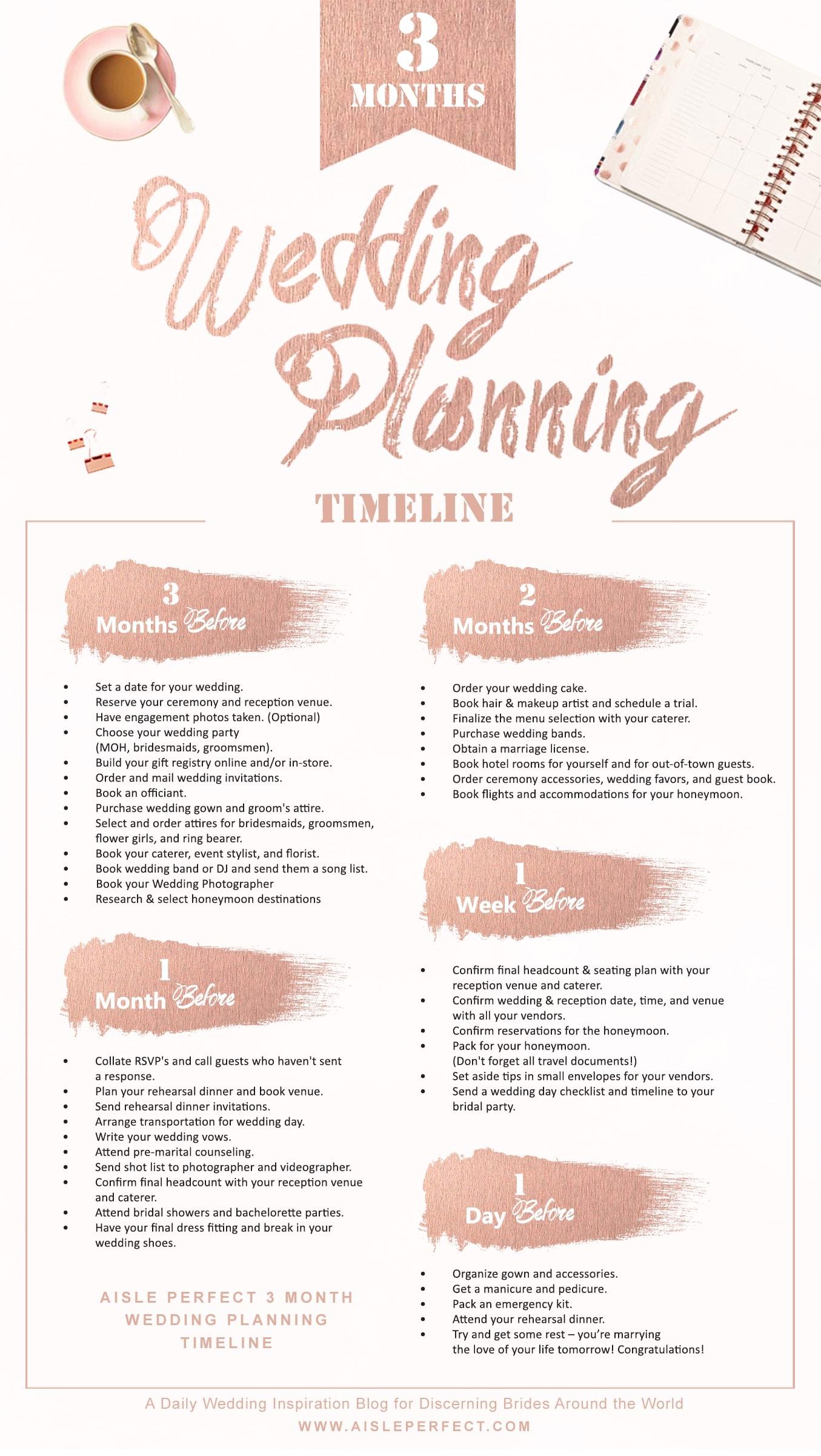 3 Month Wedding Planning Timeline Perfete