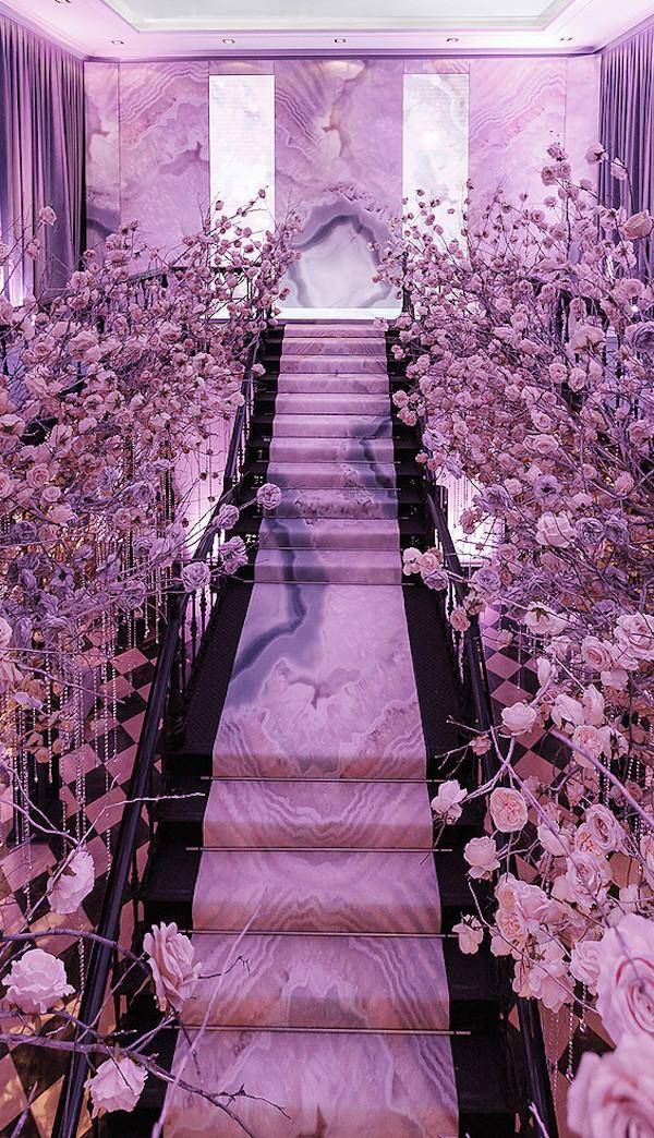 glam flower stair decor