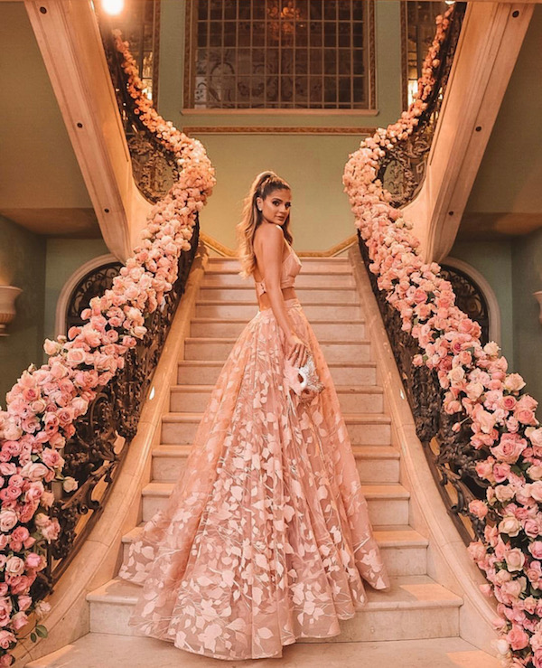 Flower wrapped stairs