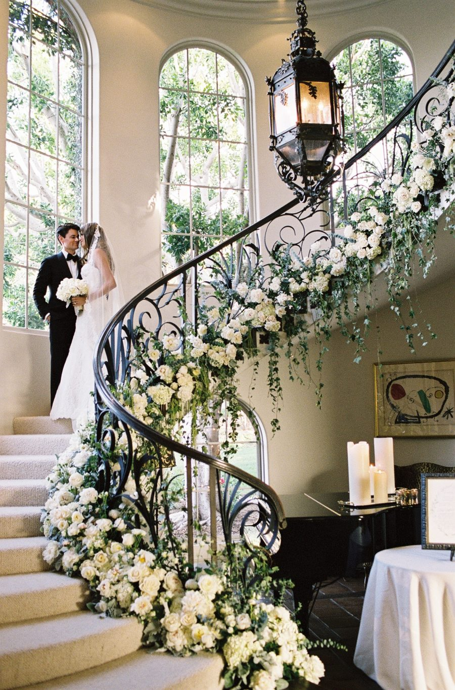 flower wrapped stairway
