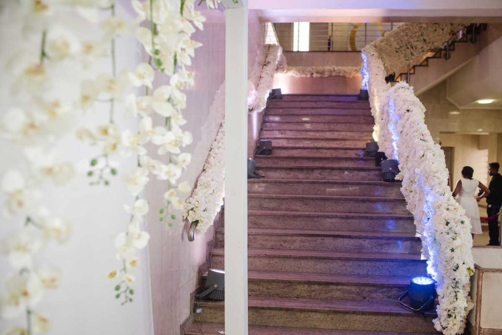 floral staircase wedding decor