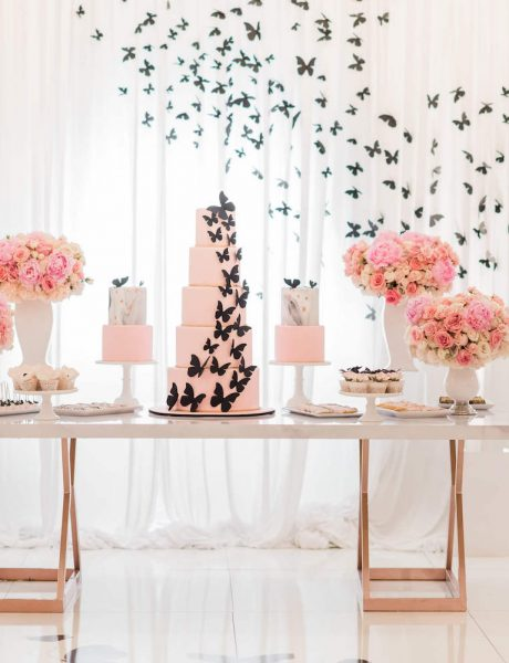 pink and black girl birthday party with butterflies 10