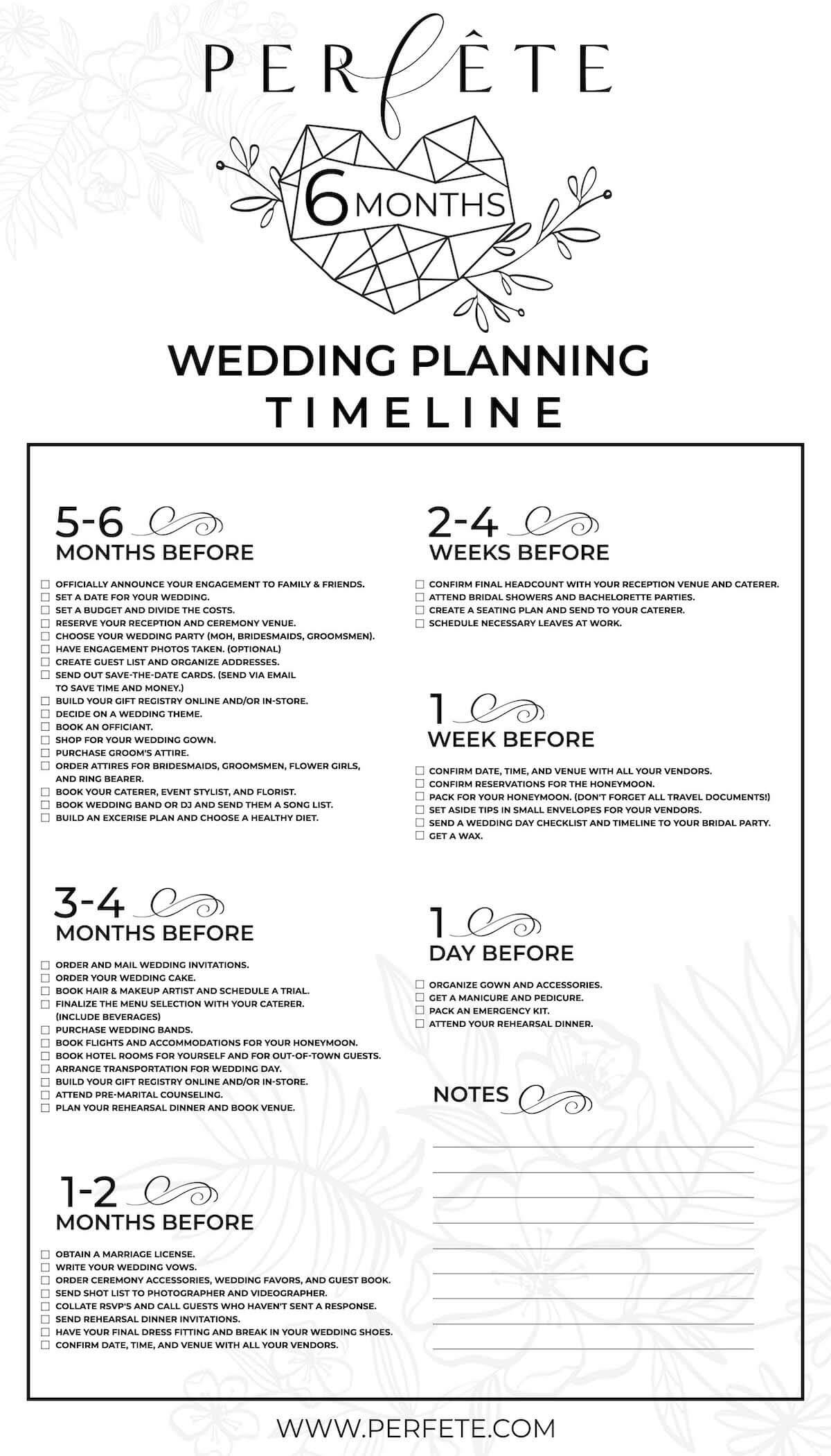 Wedding Day Checklist.12 And 6 Month Wedding Planning Checklist Perfete