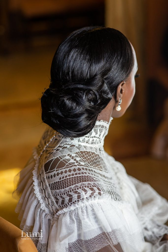 Classic French Chignon on Black Bride