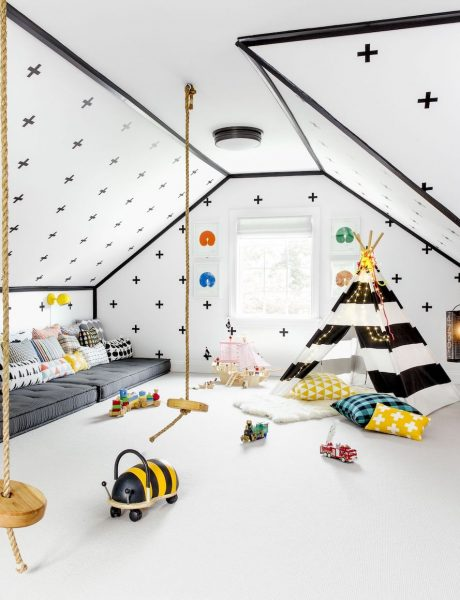black white colorful playroom