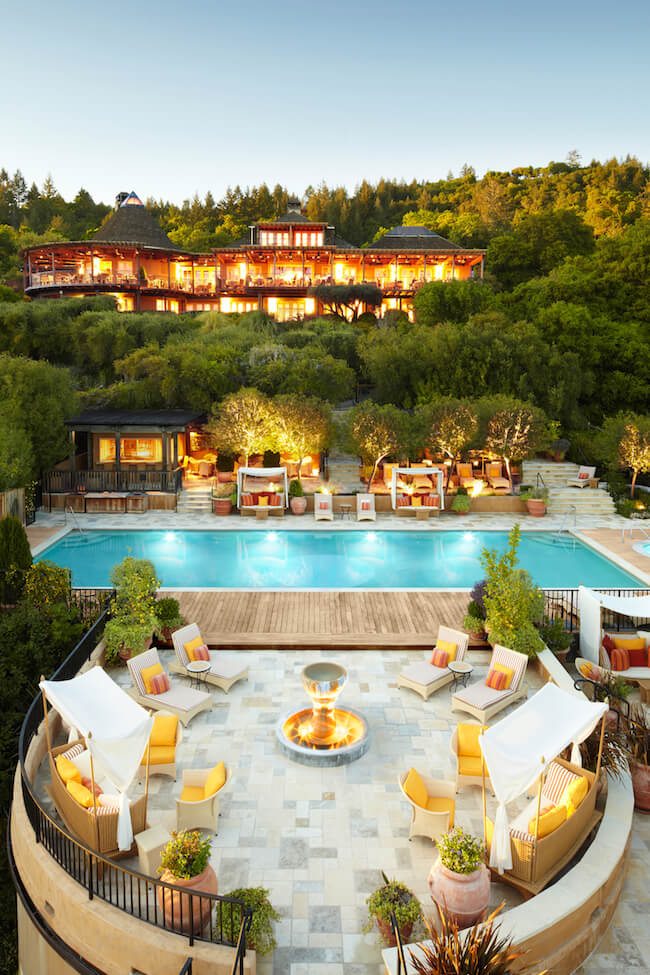 Outdoor swimming pool and nook at Auberge du Soleil in Napa Valley