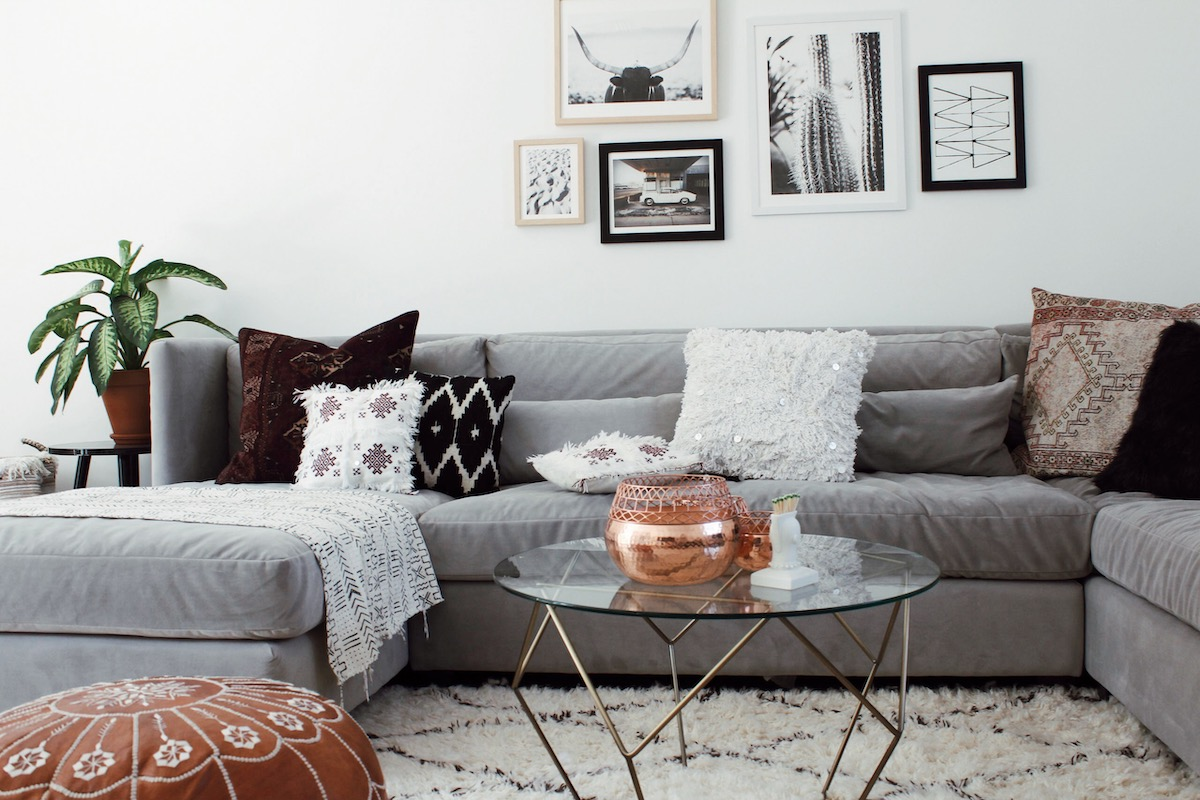 Throw pillows are a versatile element of living room decor.