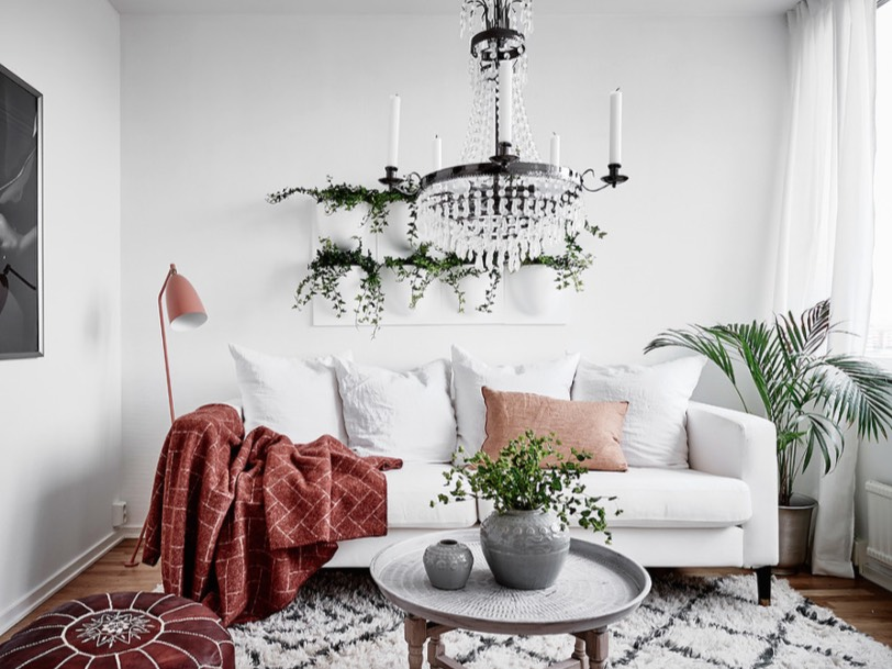Greenery and florals are a quick and inexpensive living room refresh.