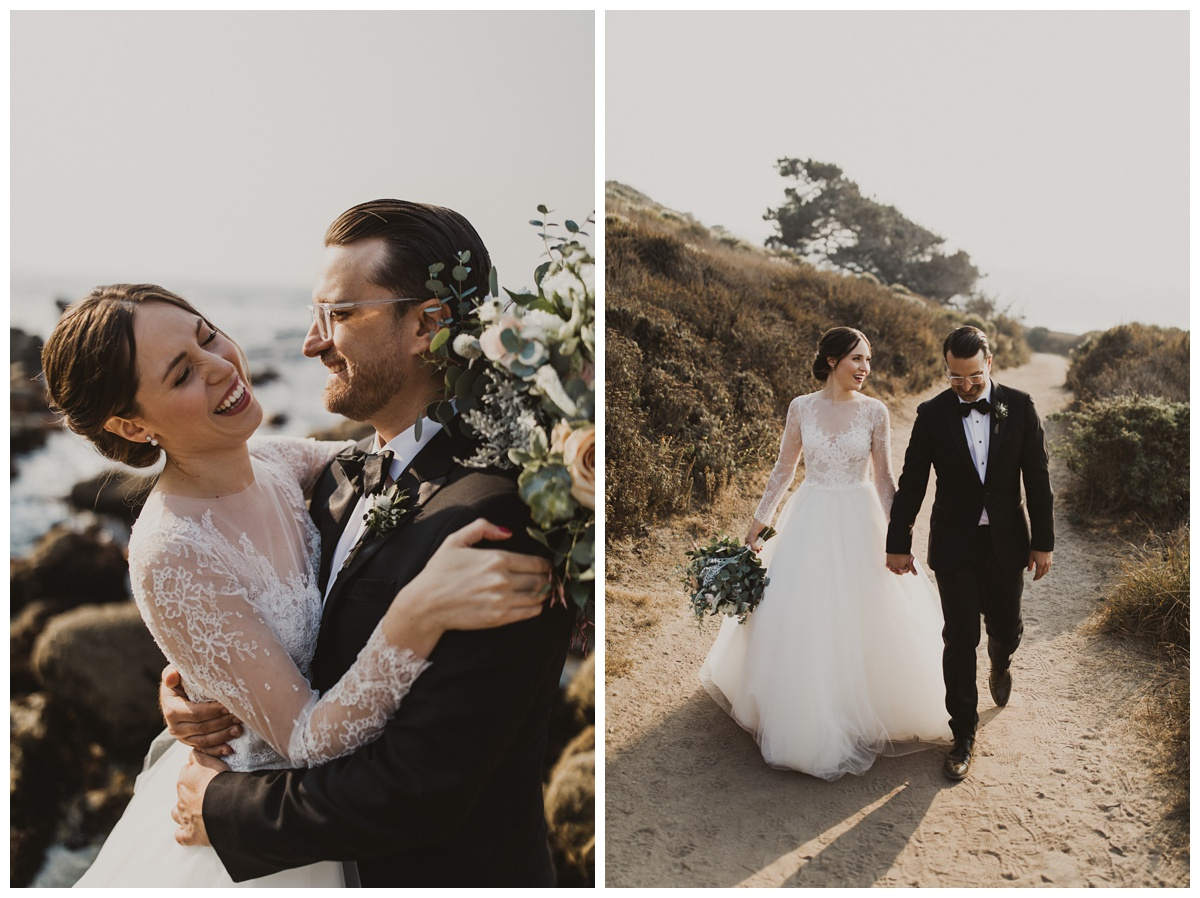 couple at carmel mission ranch laughing. bride wearing lea ann belter customized gown. it is the perfect fit.