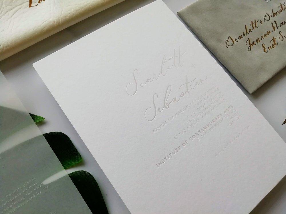 Clean embossed wedding invitation