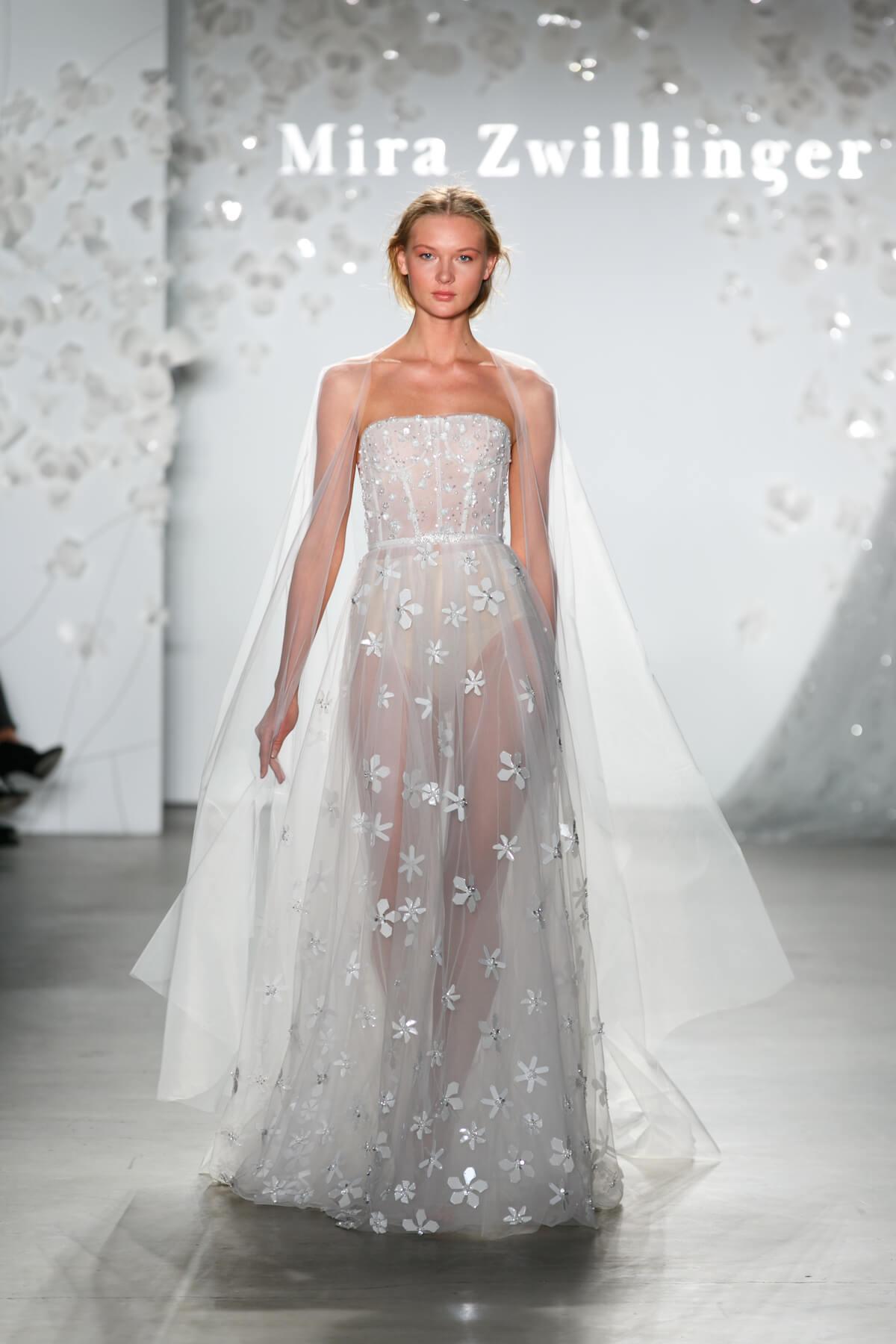 Mira Zwillinger Make a Wish Bridal Collection 2020 model walking down runway
