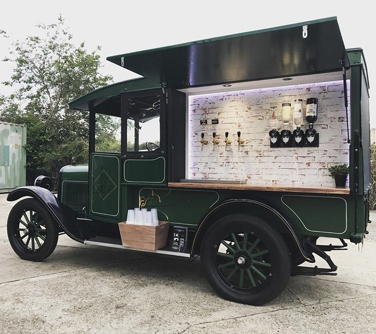 retro mobile bar with booze on tap. wheeled to perfection.