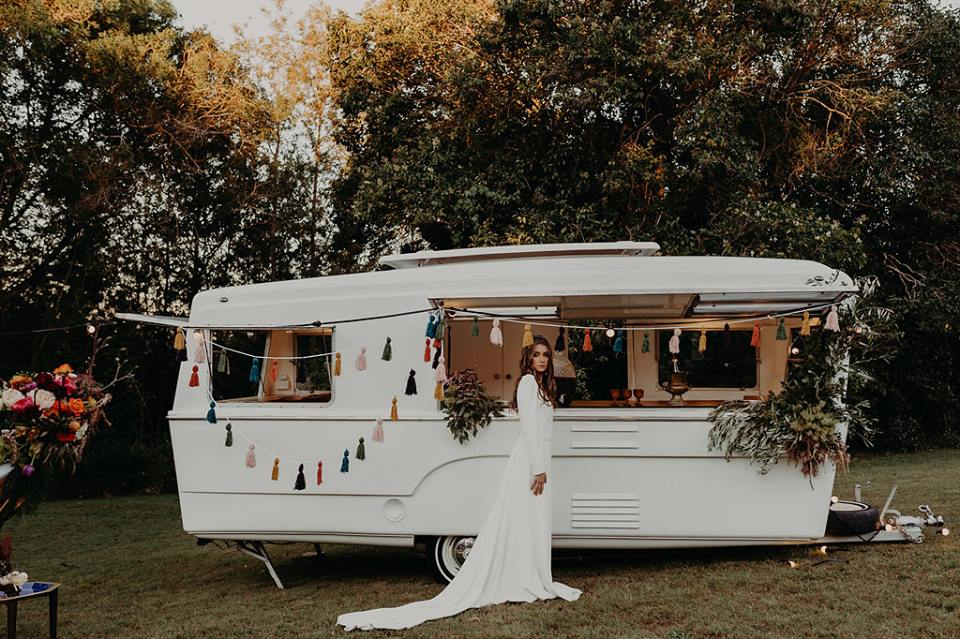 boho and whimsical inspired wedding reception decor must: retro camper style mobile bar that will bring the party to you