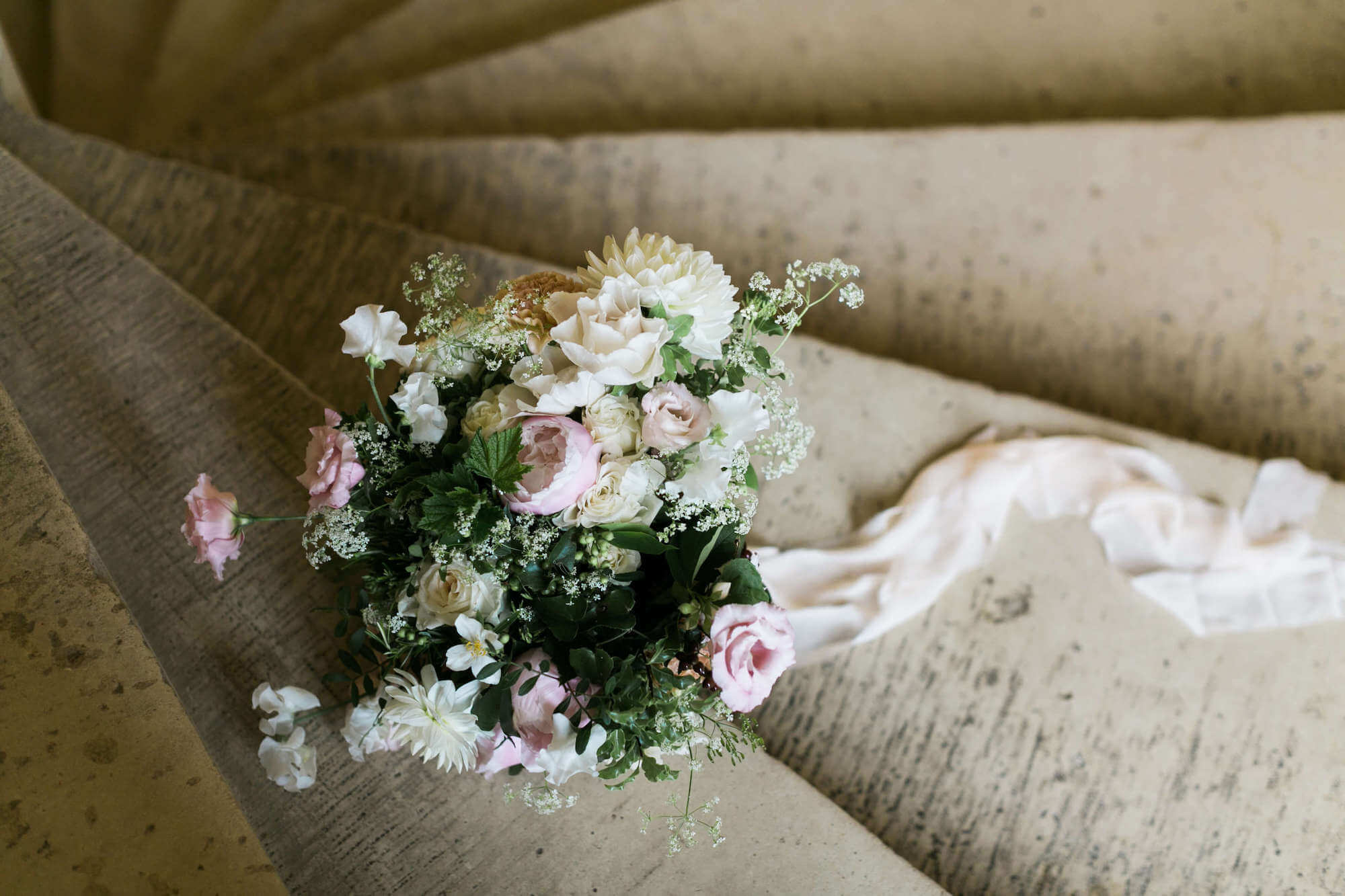 romantic bouquet shot at chateau wedding in france