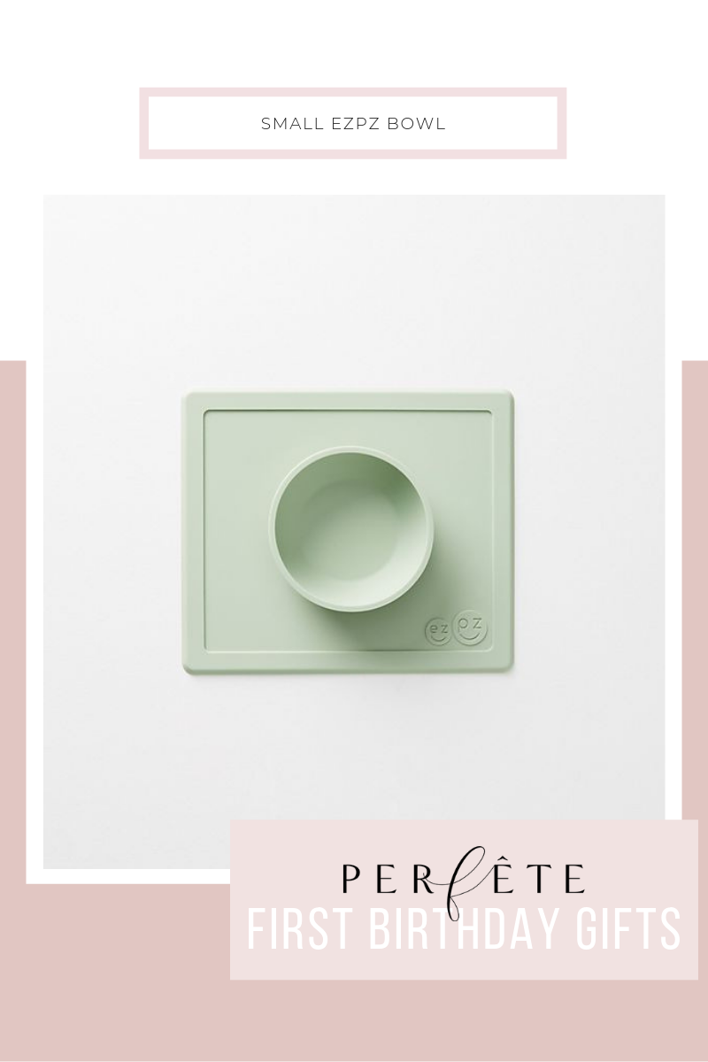 ezpz bowl in green - small green silicone bowl with mat is perfect for toddlers and one year olds to learn to feed themselves