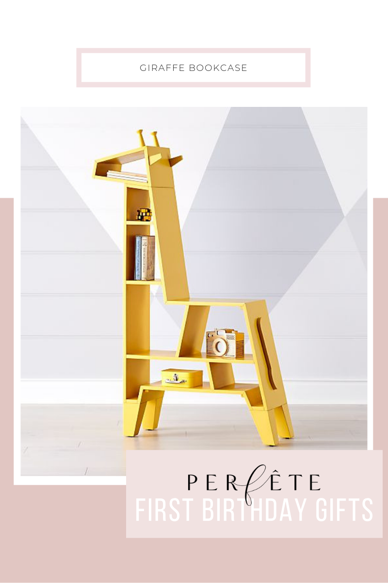 Perfête First Birthday Gift Ideas for Any One Year Old: cute bookcase or bookshelf for kids - giraffe bookcase in yellow from crate & barrel - chic kids room decor that's also really fun