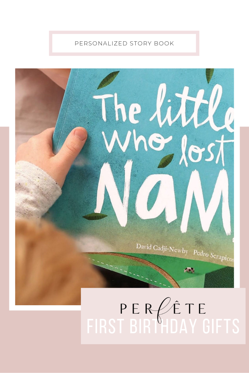 perfête gift guide for one year old - first birthday gift ideas - personalized and customized story book with child's name and rhyming scheme and repetition to promote early literacy skills