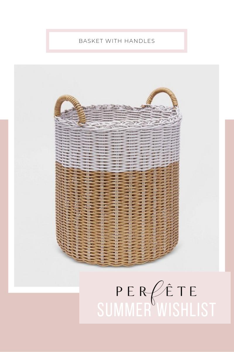 basket storage inspiration - basket with white stripe and handles