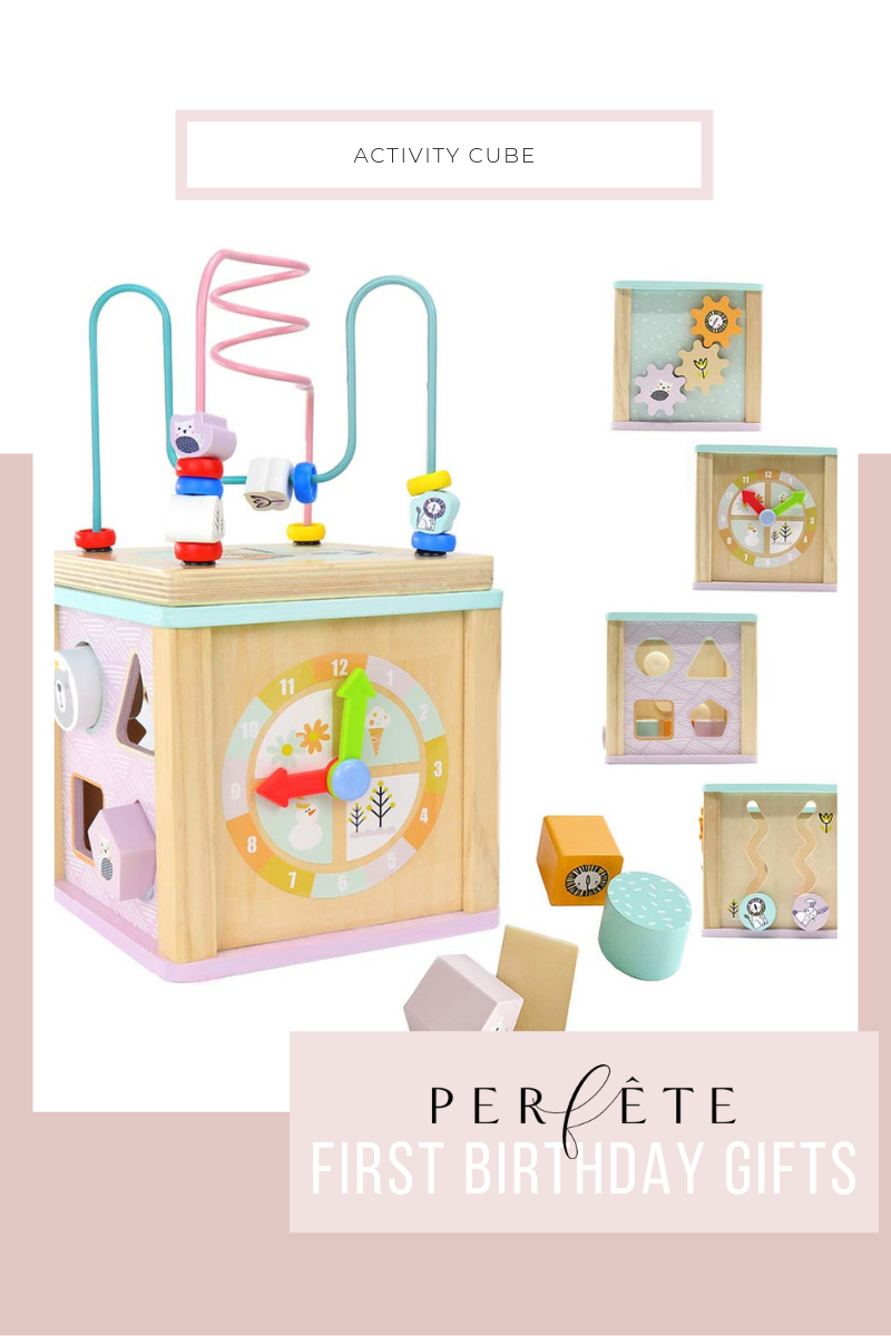 perfête gift guide for one year old - first birthday gift ideas - wooden actvity cube
