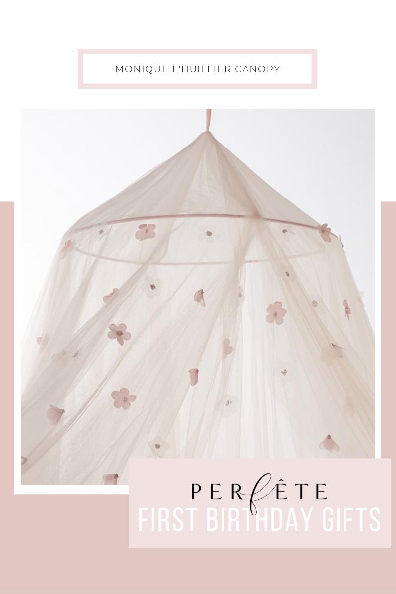 kids room decor: monique l'huillier pink floral canopy