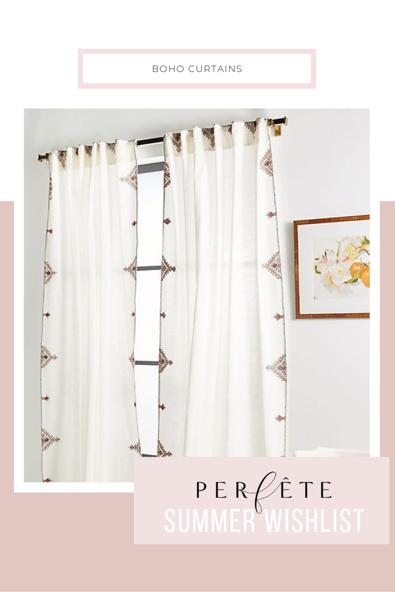 embroidered curtains from anthropologie - white - curtain panels - perfête summer decor inspiration