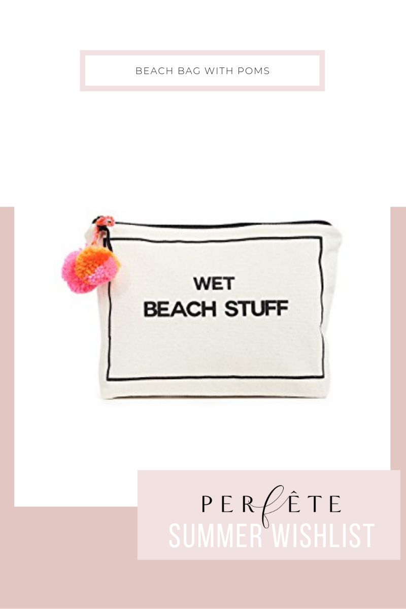 beach bag - black and white - wet bag in white and black with colorful pompoms