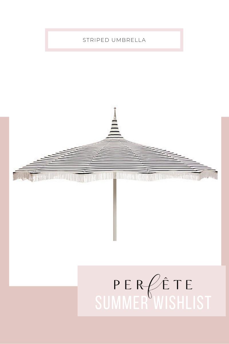 striped patio umbrella - pool umbrella with fringe in dark navy blue and white