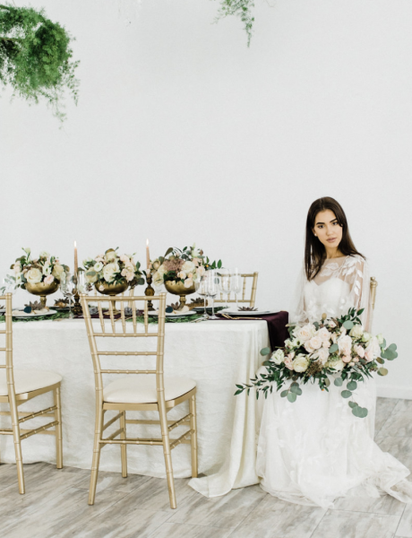 Loft Styled Shoot with Beautiful Greenery and Deep Purple Details cover