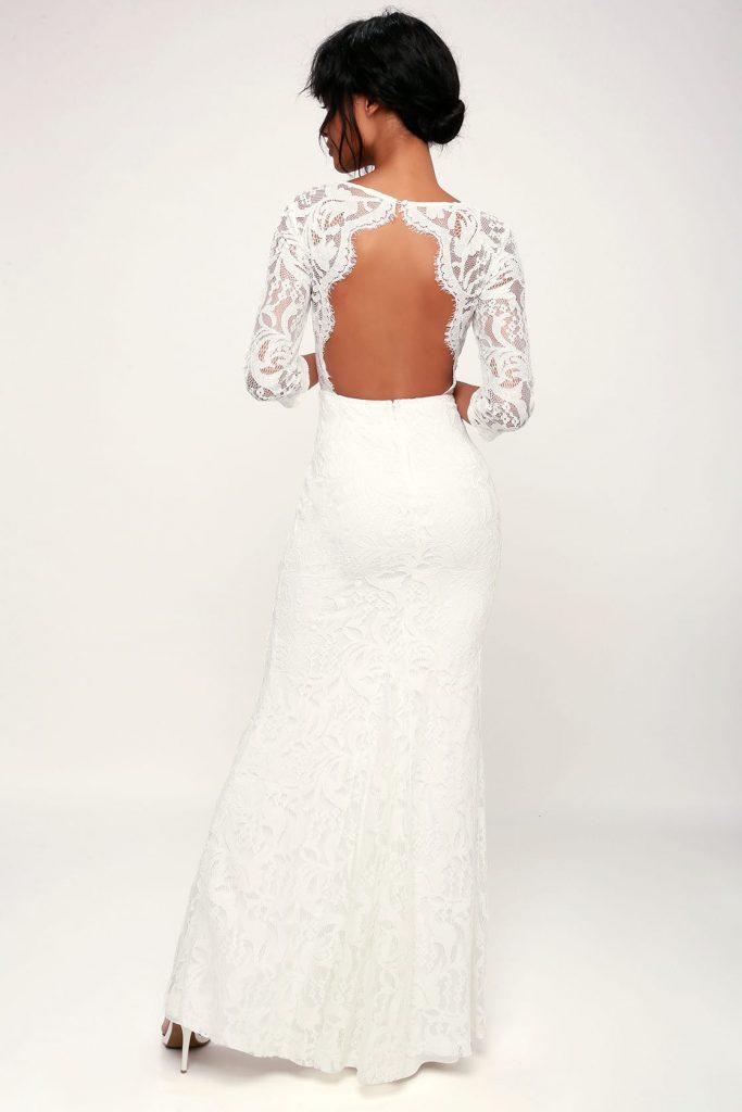 backless long sleeved lace wedding dress