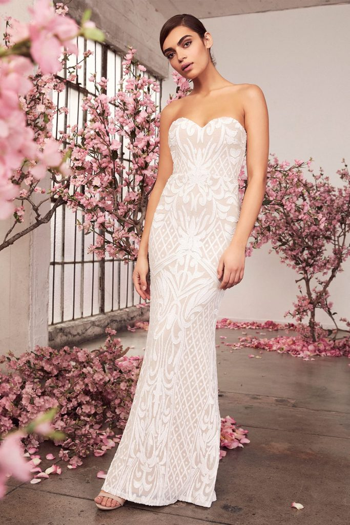fitted strapless wedding dress