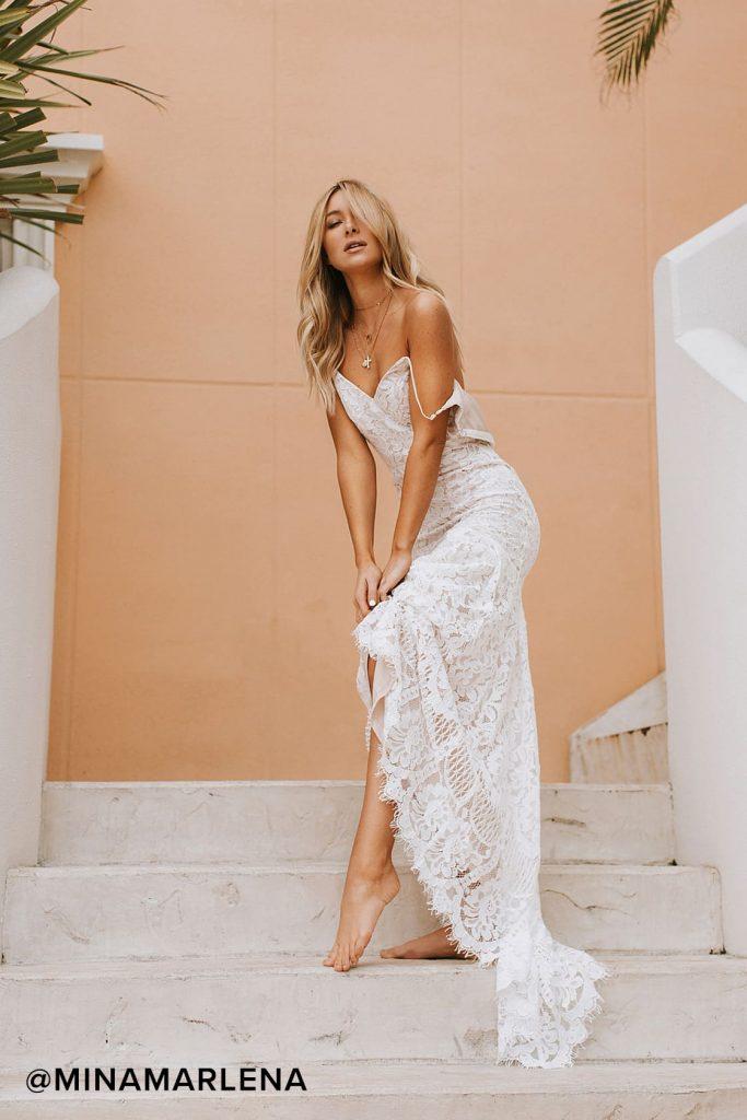 Lace Sheath wedding dress in white.
