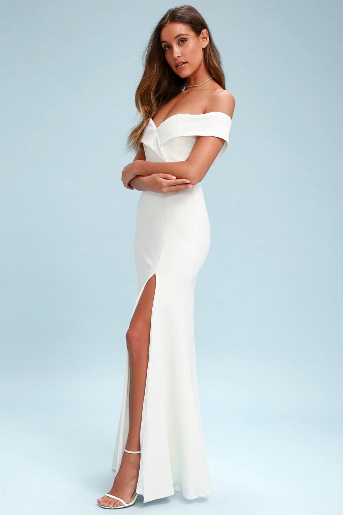 off the shoulder wedding reception dress in white. in white. chic and affordable bridal fashion ideas for the wedding reception.