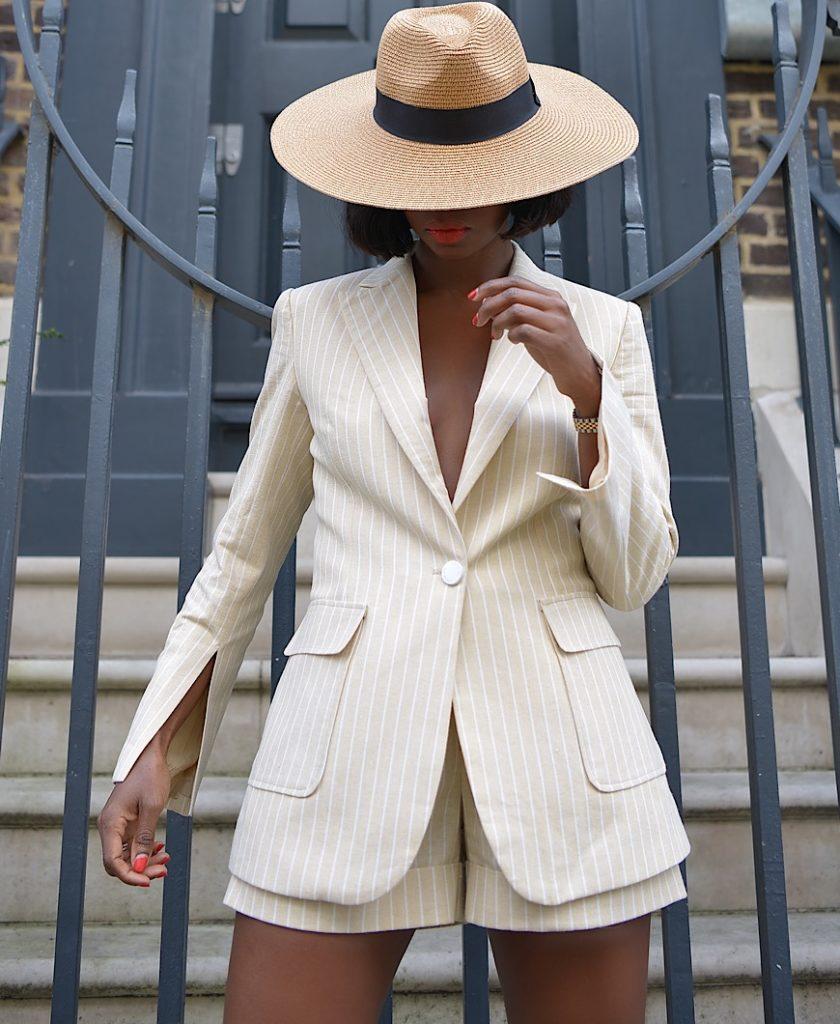pinstripe short suit set