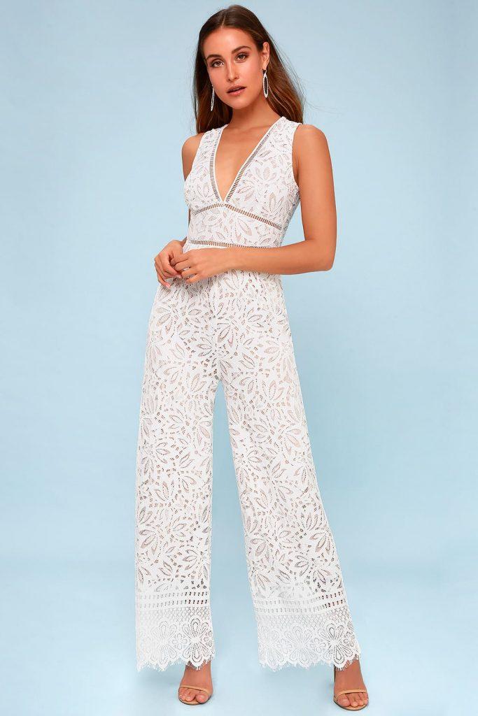 lace bridal jumpsuit for wedding reception