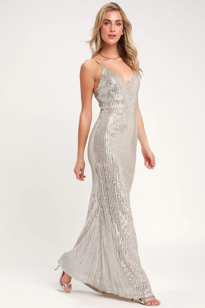 plunge sequin dress in silver; perfête and affordable wedding reception dresses sure to impress